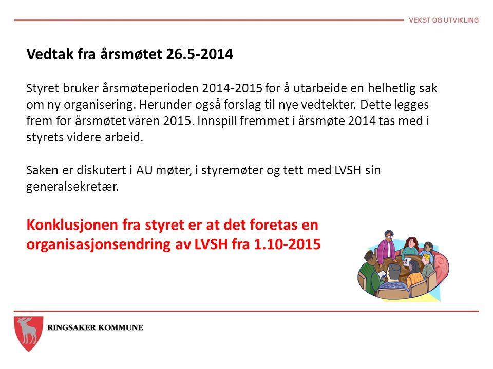 Vedtak fra årsmøtet 26.5-2014 Styret bruker årsmøteperioden 2014-2015 for å utarbeide en helhetlig sak om ny organisering. Herunder også forslag til n