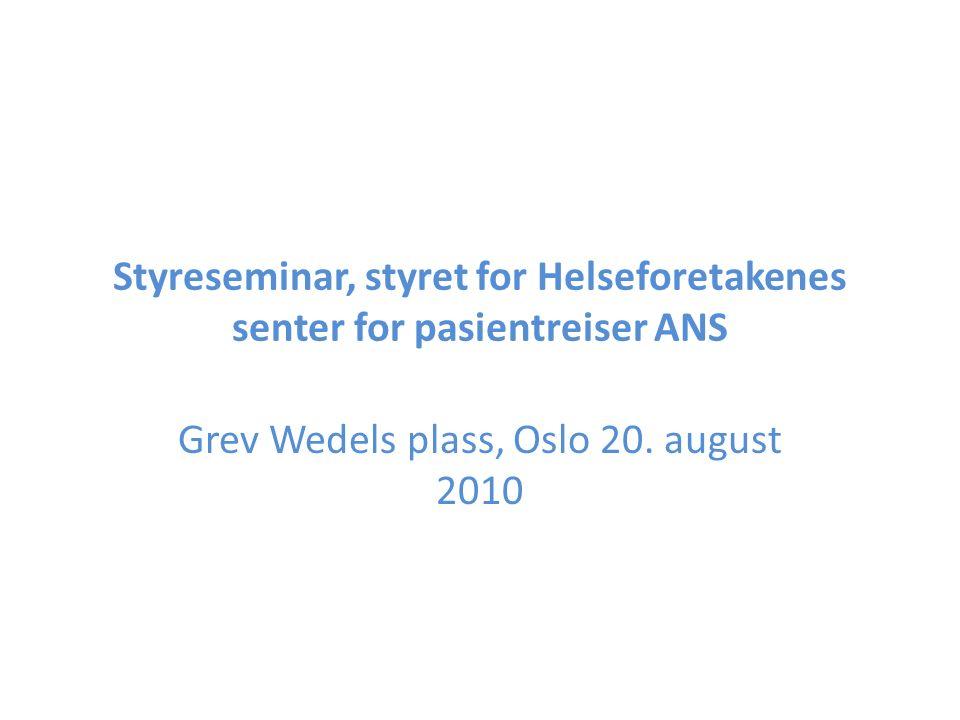 Program Torsdag 19.august kl 19.30: Middag for styret Fredag 20.