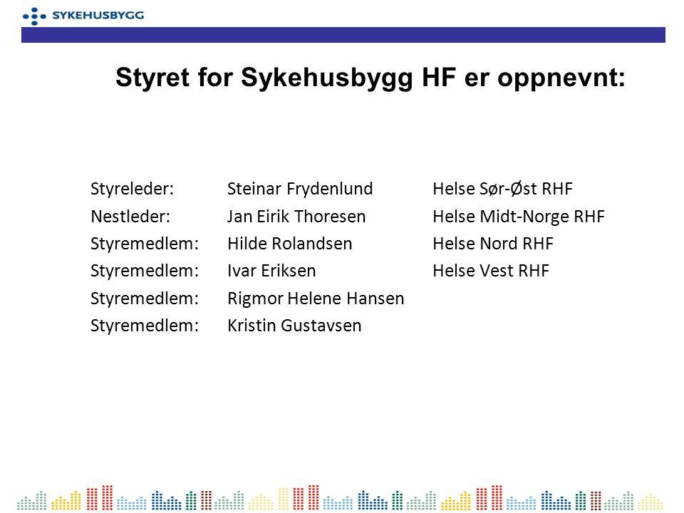 Styreleder:Steinar FrydenlundHelse Sør-Øst RHF Nestleder:Jan Eirik ThoresenHelse Midt-Norge RHF Styremedlem:Hilde RolandsenHelse Nord RHF Styremedlem: