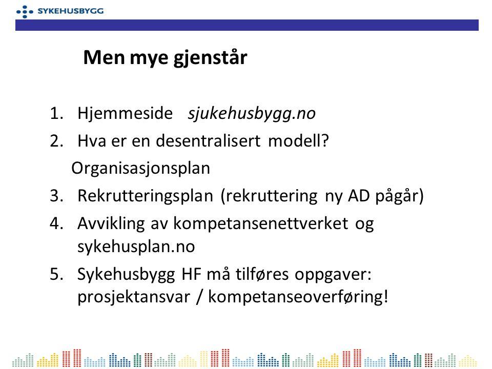 1.Hjemmeside sjukehusbygg.no 2.Hva er en desentralisert modell? Organisasjonsplan 3.Rekrutteringsplan (rekruttering ny AD pågår) 4.Avvikling av kompet