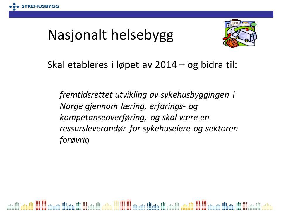 Skal etableres i løpet av 2014 – og bidra til: fremtidsrettet utvikling av sykehusbyggingen i Norge gjennom læring, erfarings- og kompetanseoverføring, og skal være en ressursleverandør for sykehuseiere og sektoren forøvrig Nasjonalt helsebygg