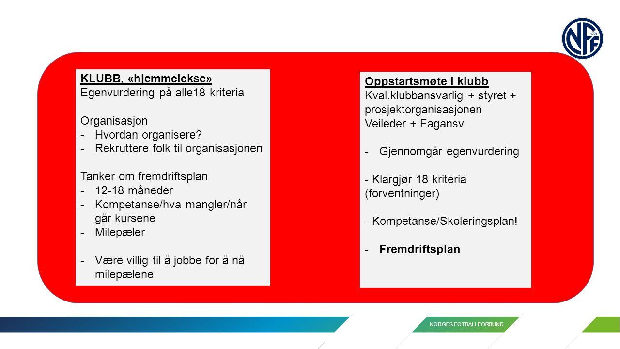 NORGES FOTBALLFORBUND KLUBB, «hjemmelekse» Egenvurdering på alle18 kriteria Organisasjon -Hvordan organisere? -Rekruttere folk til organisasjonen Tank