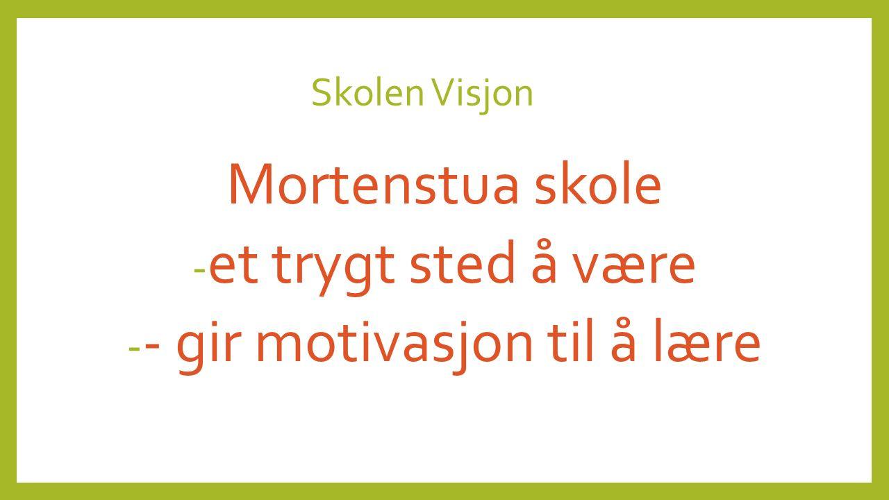 Skolen Visjon Mortenstua skole - et trygt sted å være - - gir motivasjon til å lære