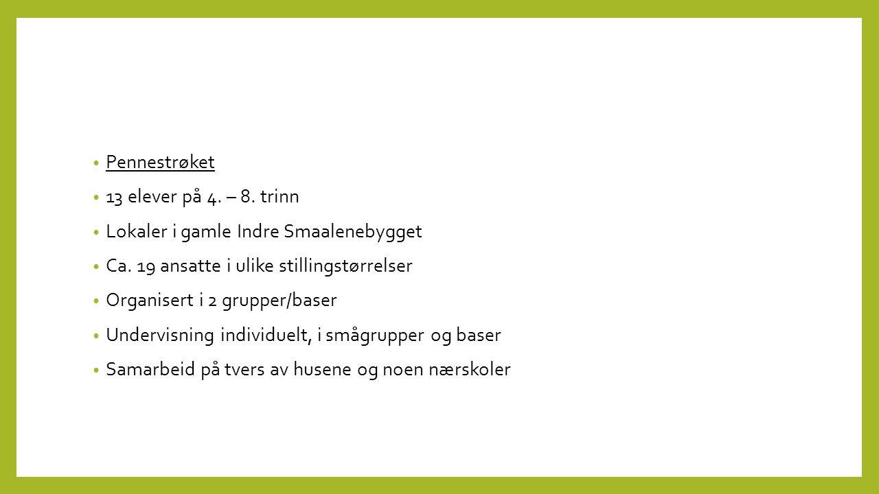 Pennestrøket 13 elever på 4. – 8. trinn Lokaler i gamle Indre Smaalenebygget Ca.