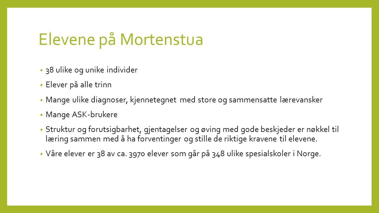 Ansatte på Mortenstua Ca 60 ansatte - 50 årsverk 46 årsverk til arbeid knyttet til elever, salg av veiledning og andre oppgaver knyttet til kompetanse internt og ekstert, f.eks ledelse, kartleggingsteam, arb.gr.