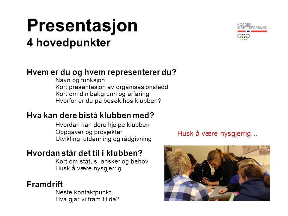Presentasjon 4 hovedpunkter Hvem er du og hvem representerer du? Navn og funksjon Kort presentasjon av organisasjonsledd Kort om din bakgrunn og erfar