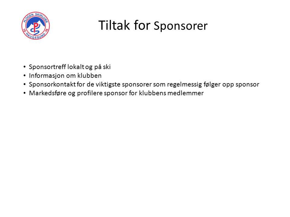 Tiltak for Sponsorer Sponsortreff lokalt og på ski Informasjon om klubben Sponsorkontakt for de viktigste sponsorer som regelmessig følger opp sponsor Markedsføre og profilere sponsor for klubbens medlemmer