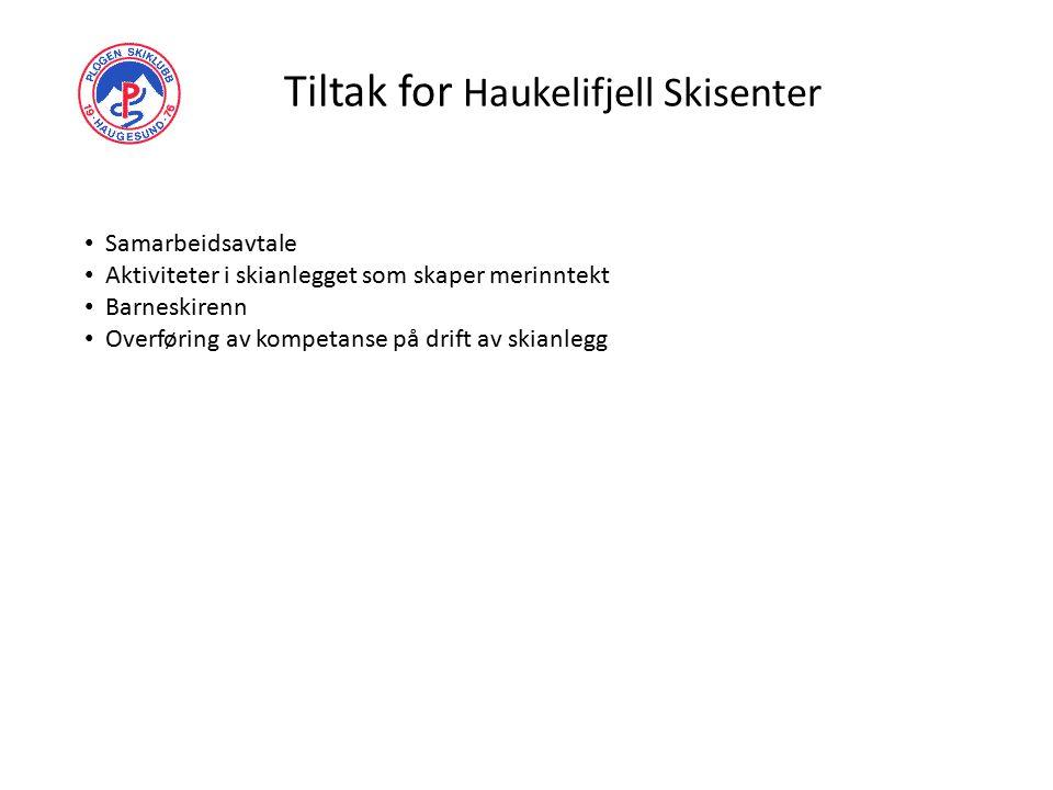 Tiltak for Haukelifjell Skisenter Samarbeidsavtale Aktiviteter i skianlegget som skaper merinntekt Barneskirenn Overføring av kompetanse på drift av skianlegg
