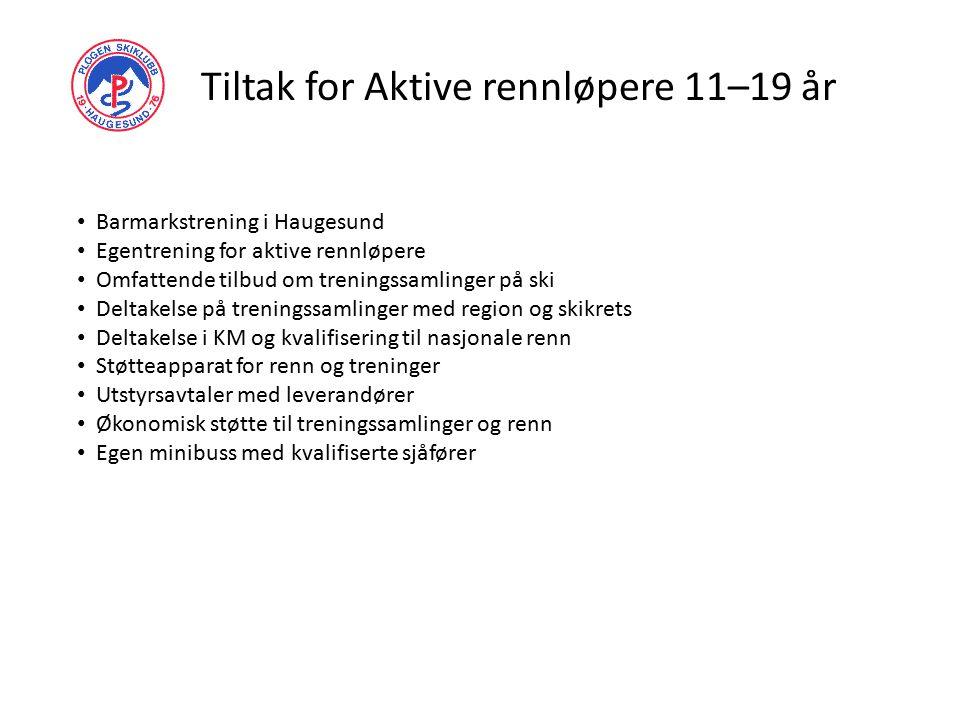Tiltak for Aktive rennløpere 11–19 år Barmarkstrening i Haugesund Egentrening for aktive rennløpere Omfattende tilbud om treningssamlinger på ski Delt