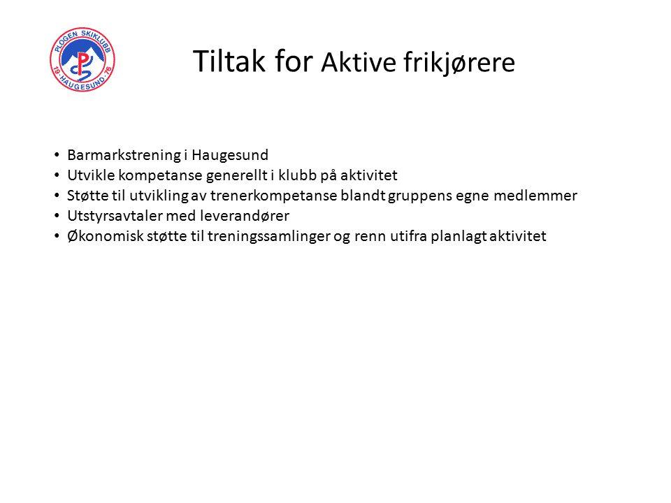 Tiltak for Aktive frikjørere Barmarkstrening i Haugesund Utvikle kompetanse generellt i klubb på aktivitet Støtte til utvikling av trenerkompetanse bl