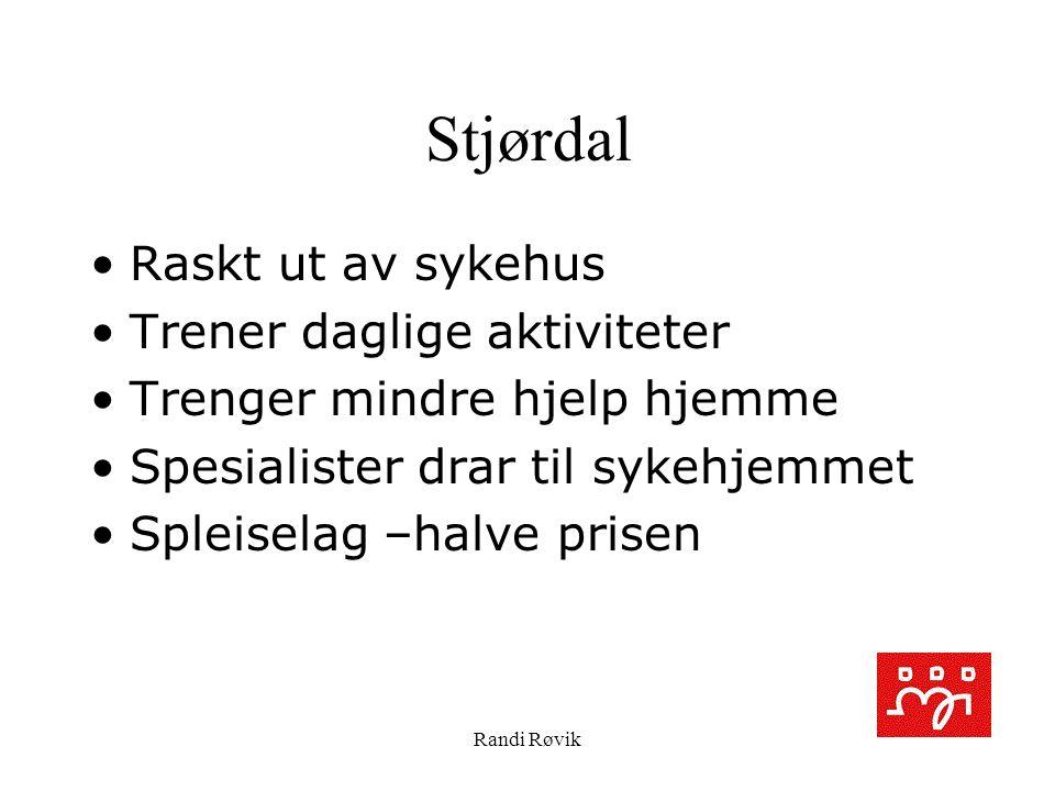 Randi Røvik Stjørdal Raskt ut av sykehus Trener daglige aktiviteter Trenger mindre hjelp hjemme Spesialister drar til sykehjemmet Spleiselag –halve prisen