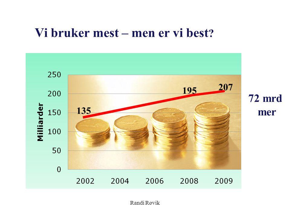 Randi Røvik Vi bruker mest – men er vi best ? 207 135 195 72 mrd mer
