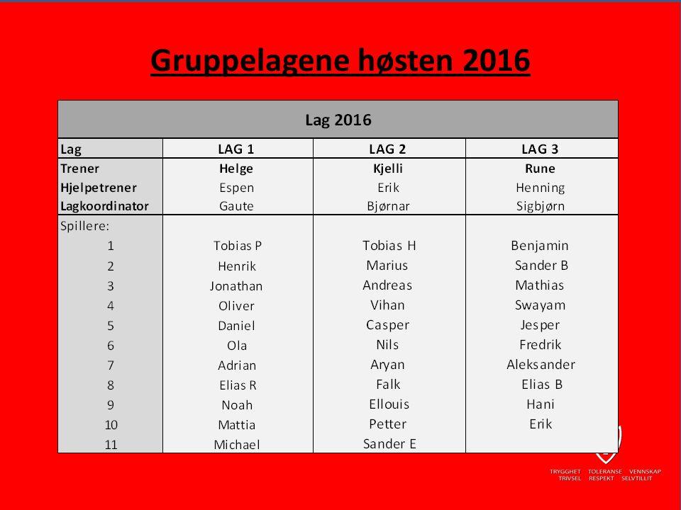 Gruppelagene høsten 2016