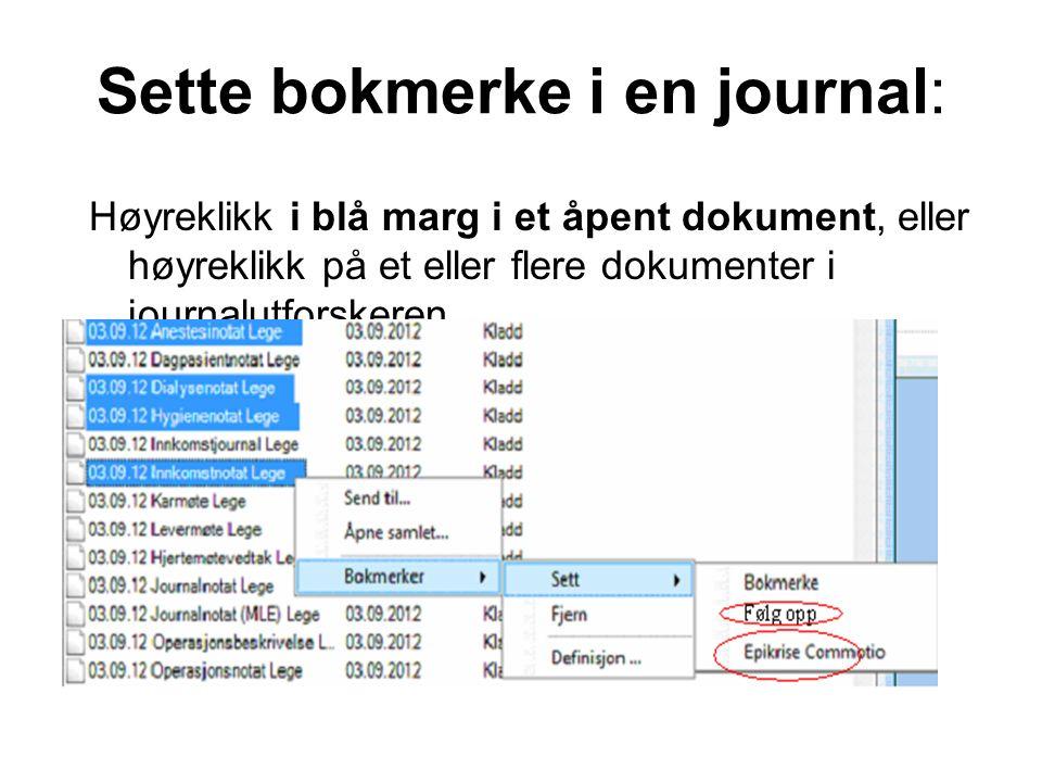 Sette bokmerke i en journal: Høyreklikk i blå marg i et åpent dokument, eller høyreklikk på et eller flere dokumenter i journalutforskeren