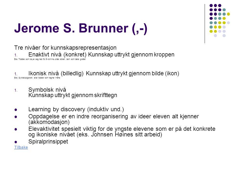 Jerome S. Brunner (,-) Tre nivåer for kunnskapsrepresentasjon 1.