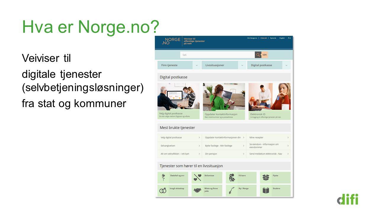Hva er Norge.no Veiviser til digitale tjenester (selvbetjeningsløsninger) fra stat og kommuner