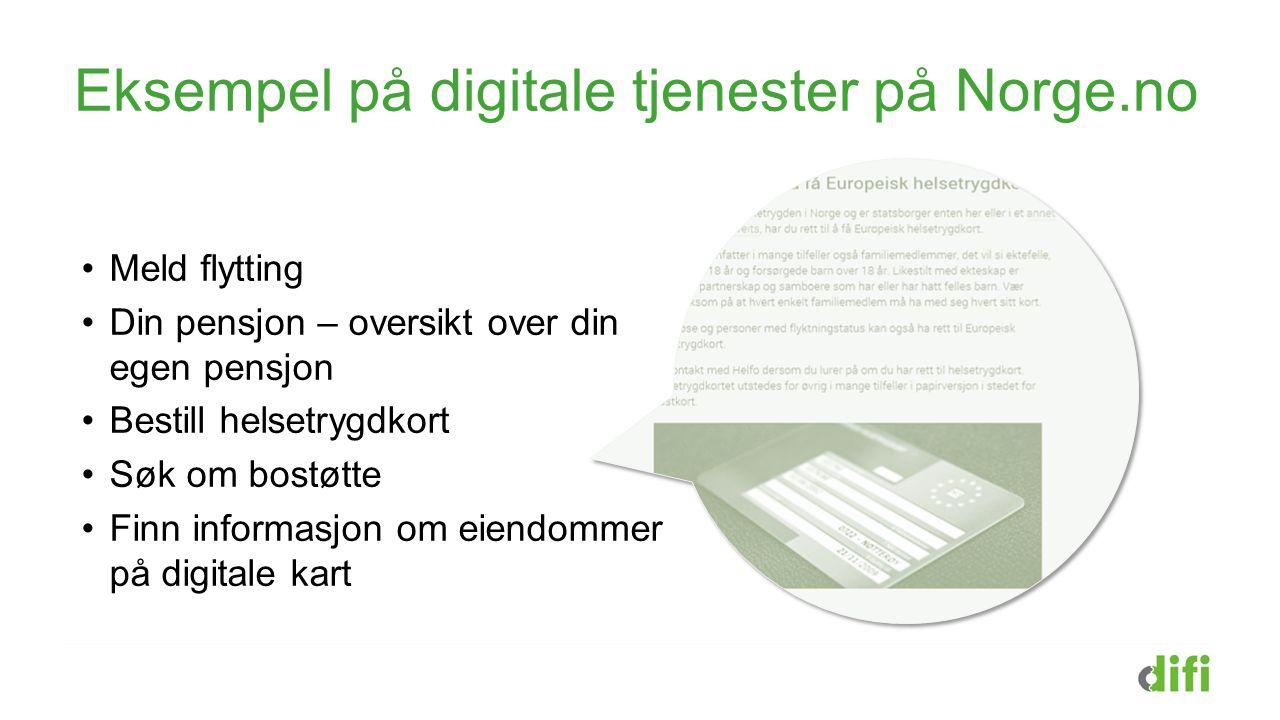 Eksempel på digitale tjenester på Norge.no Meld flytting Din pensjon – oversikt over din egen pensjon Bestill helsetrygdkort Søk om bostøtte Finn info