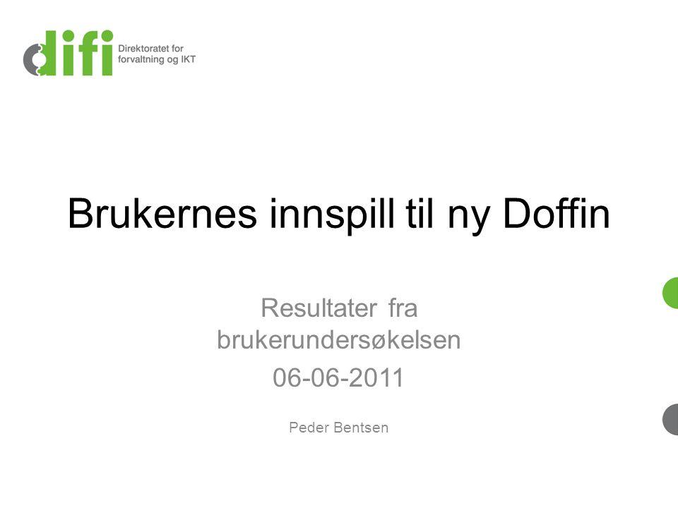 Brukernes innspill til ny Doffin Resultater fra brukerundersøkelsen 06-06-2011 Peder Bentsen