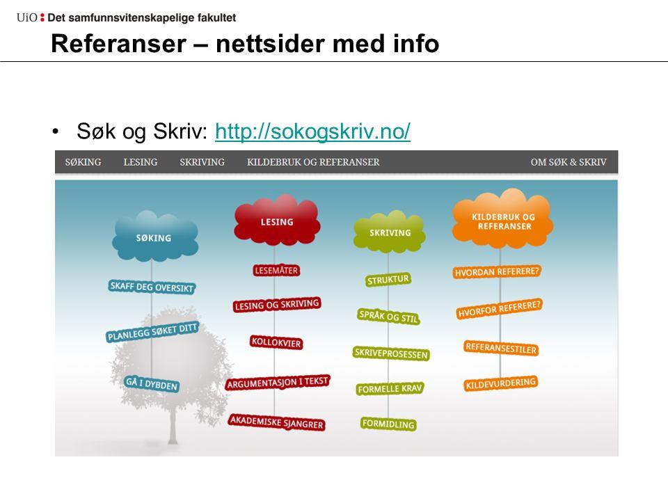 Referanser – nettsider med info Søk og Skriv: http://sokogskriv.no/http://sokogskriv.no/