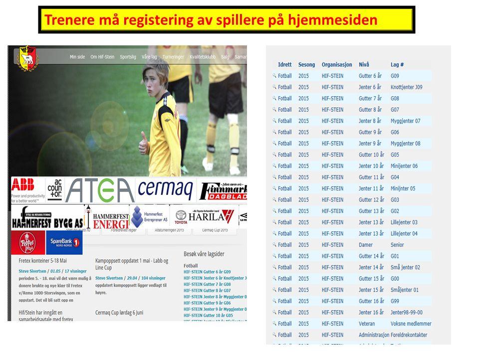 Trenere må registering av spillere på hjemmesiden