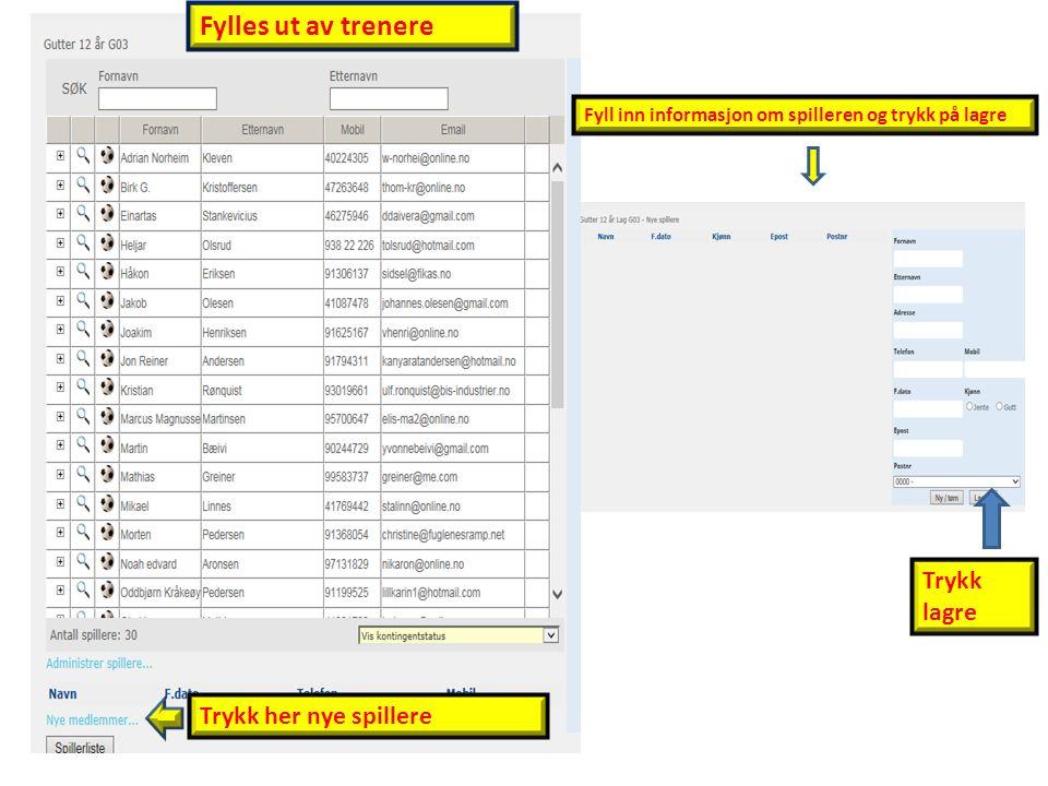 Trykk her nye spillere Fyll inn informasjon om spilleren og trykk på lagre Trykk lagre Fylles ut av trenere