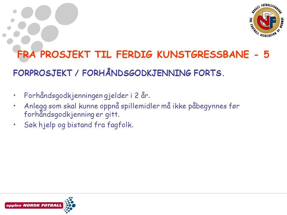FRA PROSJEKT TIL FERDIG KUNSTGRESSBANE - 5 FORPROSJEKT / FORHÅNDSGODKJENNING FORTS.
