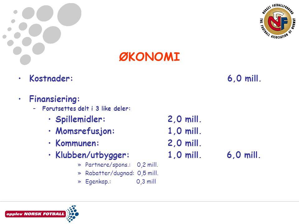 ØKONOMI Kostnader: 6,0 mill. Finansiering: –Forutsettes delt i 3 like deler: Spillemidler:2,0 mill.