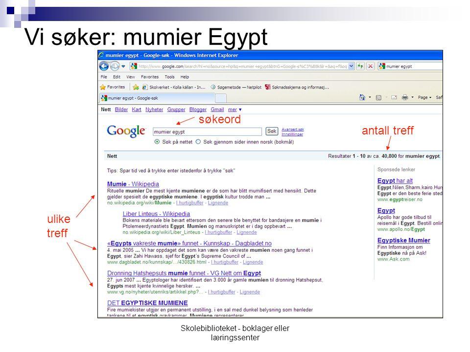 ulike treff antall treff søkeord Vi søker: mumier Egypt