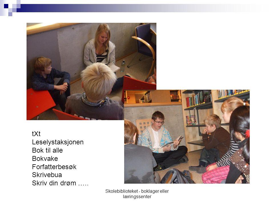 tXt Leselystaksjonen Bok til alle Bokvake Forfatterbesøk Skrivebua Skriv din drøm …..