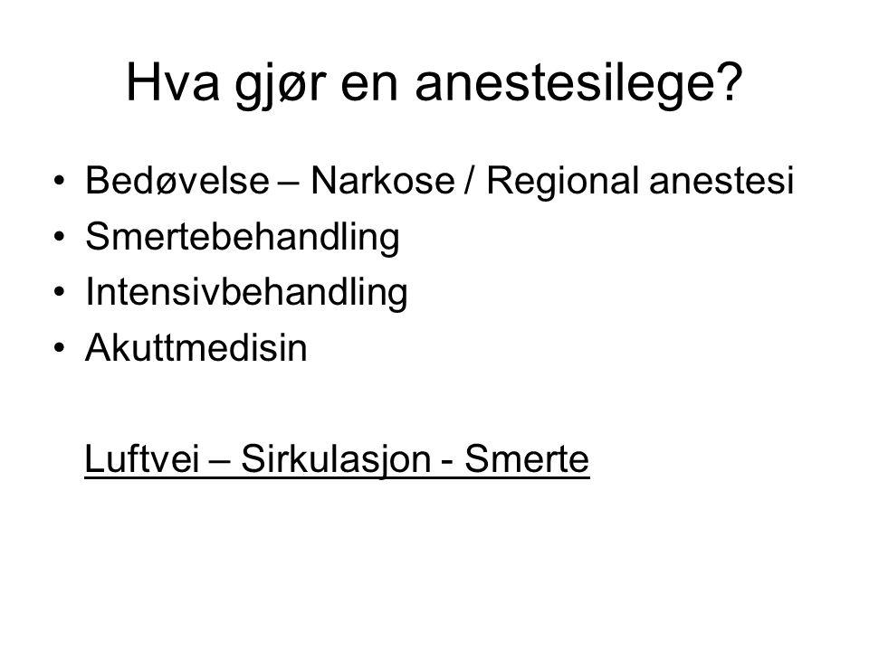 Hva gjør en anestesilege? Bedøvelse – Narkose / Regional anestesi Smertebehandling Intensivbehandling Akuttmedisin Luftvei – Sirkulasjon - Smerte
