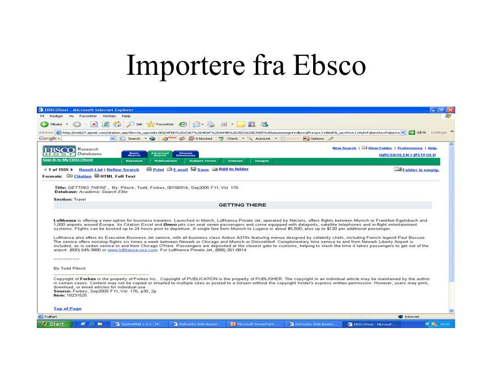 Importere fra Ebsco