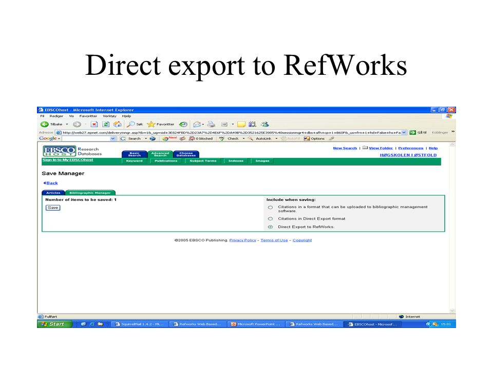 Direct export to RefWorks