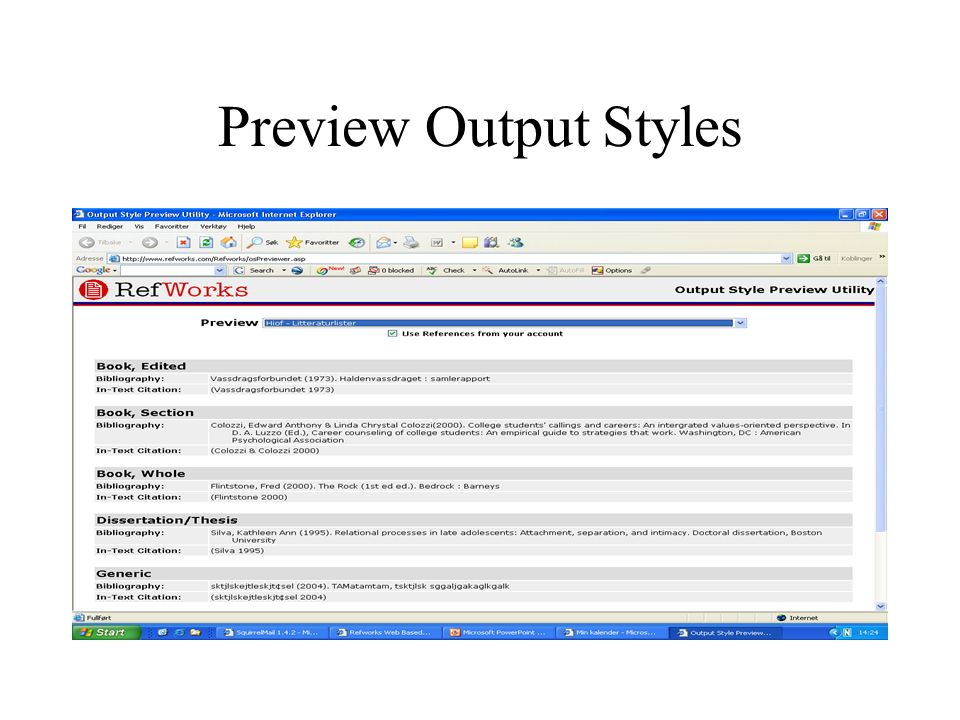 Preview Output Styles