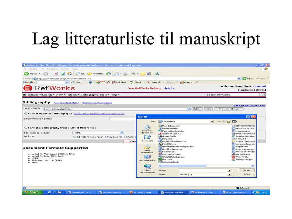 Lag litteraturliste til manuskript