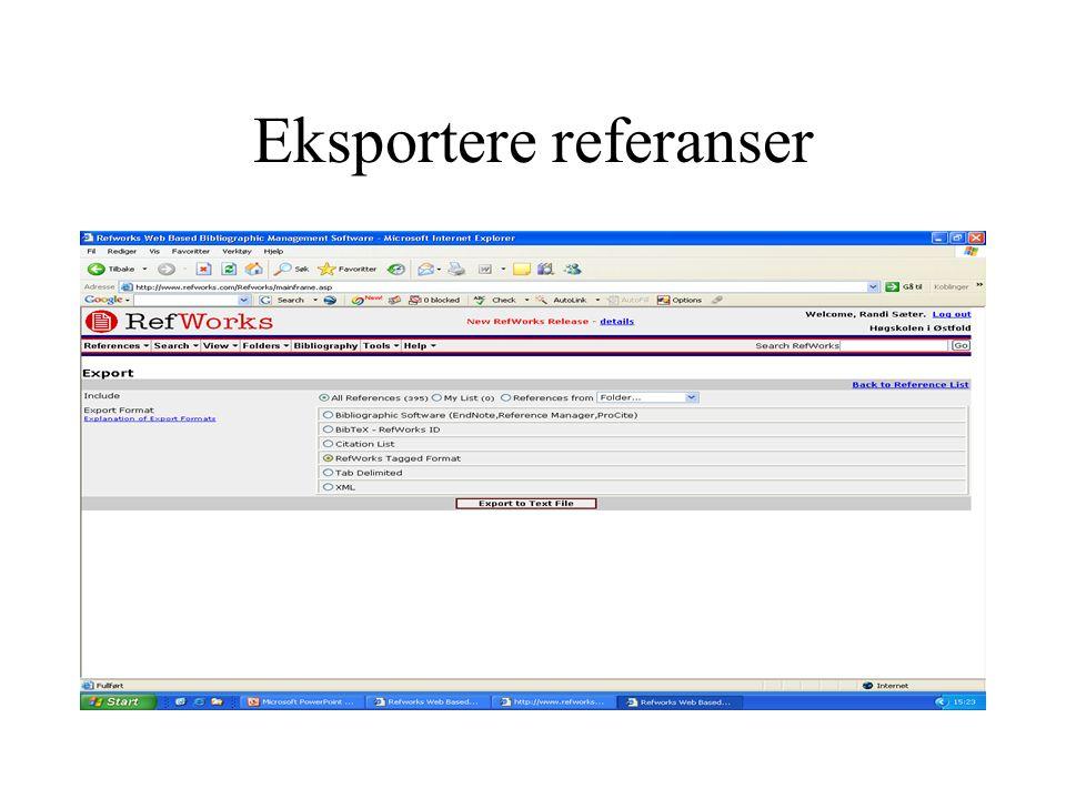 Eksportere referanser
