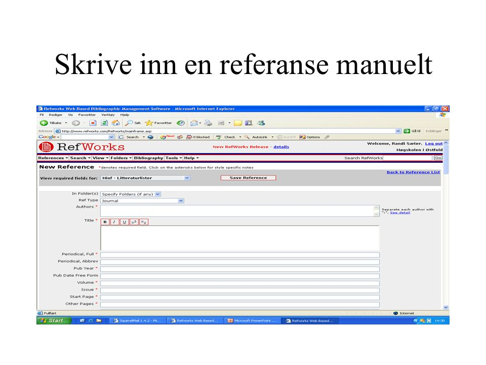 Skrive inn en referanse manuelt