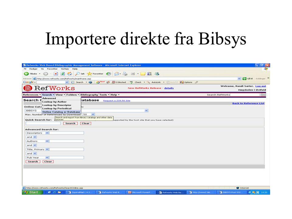 Importere direkte fra Bibsys
