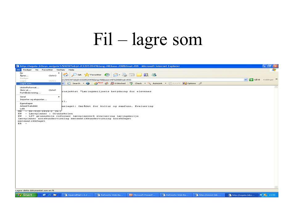 Lim inn referansen i manuskript