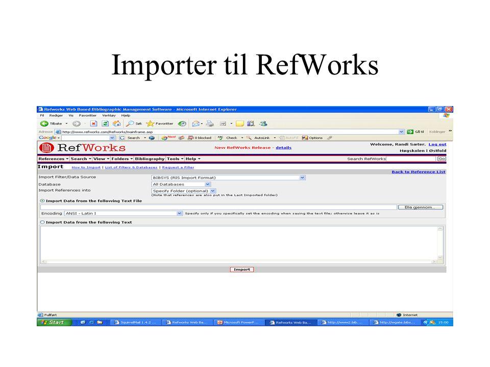 Importer til RefWorks