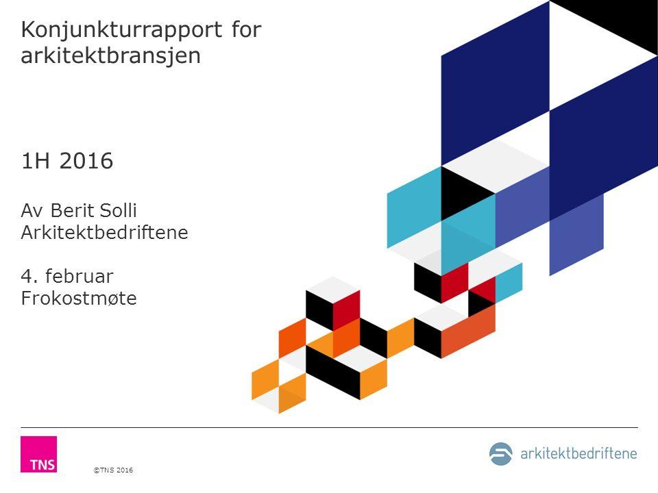 ©TNS 2016 Konjunkturrapport for arkitektbransjen 1H 2016 Av Berit Solli Arkitektbedriftene 4. februar Frokostmøte