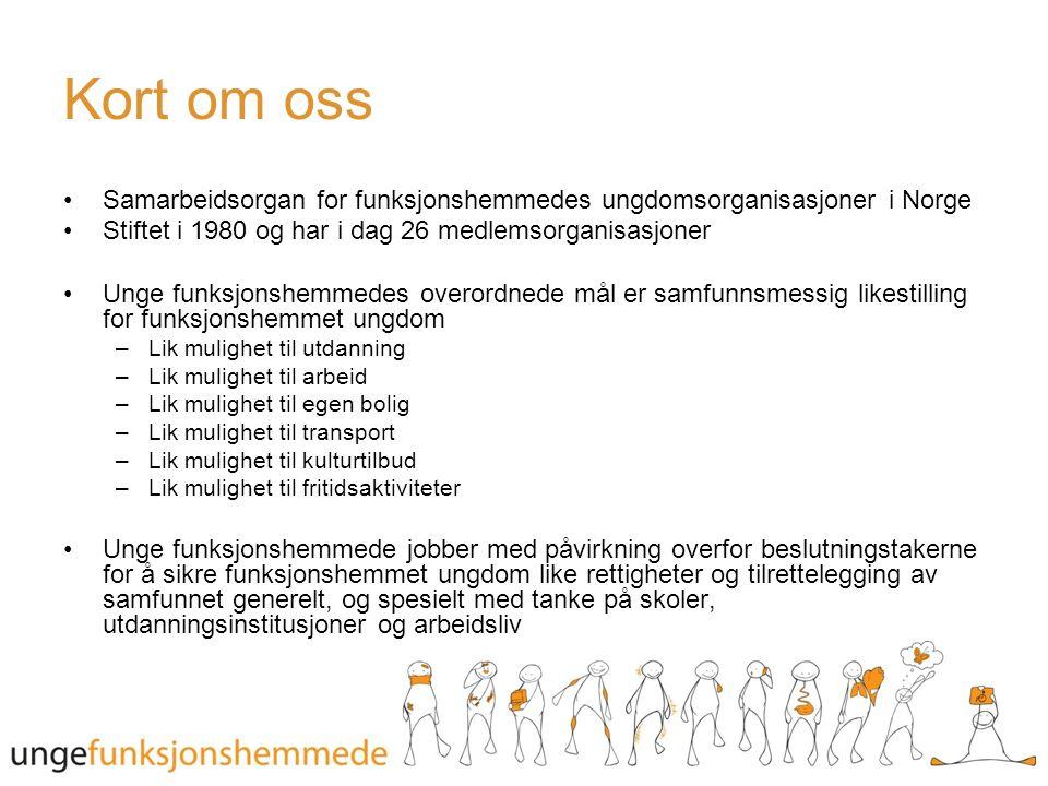 Kort om oss Samarbeidsorgan for funksjonshemmedes ungdomsorganisasjoner i Norge Stiftet i 1980 og har i dag 26 medlemsorganisasjoner Unge funksjonshemmedes overordnede mål er samfunnsmessig likestilling for funksjonshemmet ungdom –Lik mulighet til utdanning –Lik mulighet til arbeid –Lik mulighet til egen bolig –Lik mulighet til transport –Lik mulighet til kulturtilbud –Lik mulighet til fritidsaktiviteter Unge funksjonshemmede jobber med påvirkning overfor beslutningstakerne for å sikre funksjonshemmet ungdom like rettigheter og tilrettelegging av samfunnet generelt, og spesielt med tanke på skoler, utdanningsinstitusjoner og arbeidsliv