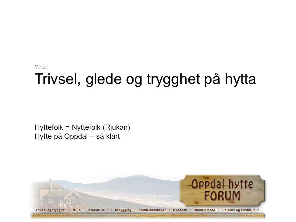 Motto: Trivsel, glede og trygghet på hytta Hyttefolk = Nyttefolk (Rjukan) Hytte på Oppdal – så klart