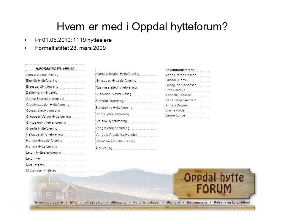 Hvem er med i Oppdal hytteforum. Pr 01.05.2010: 1119 hytteeiere Formelt stiftet 28.