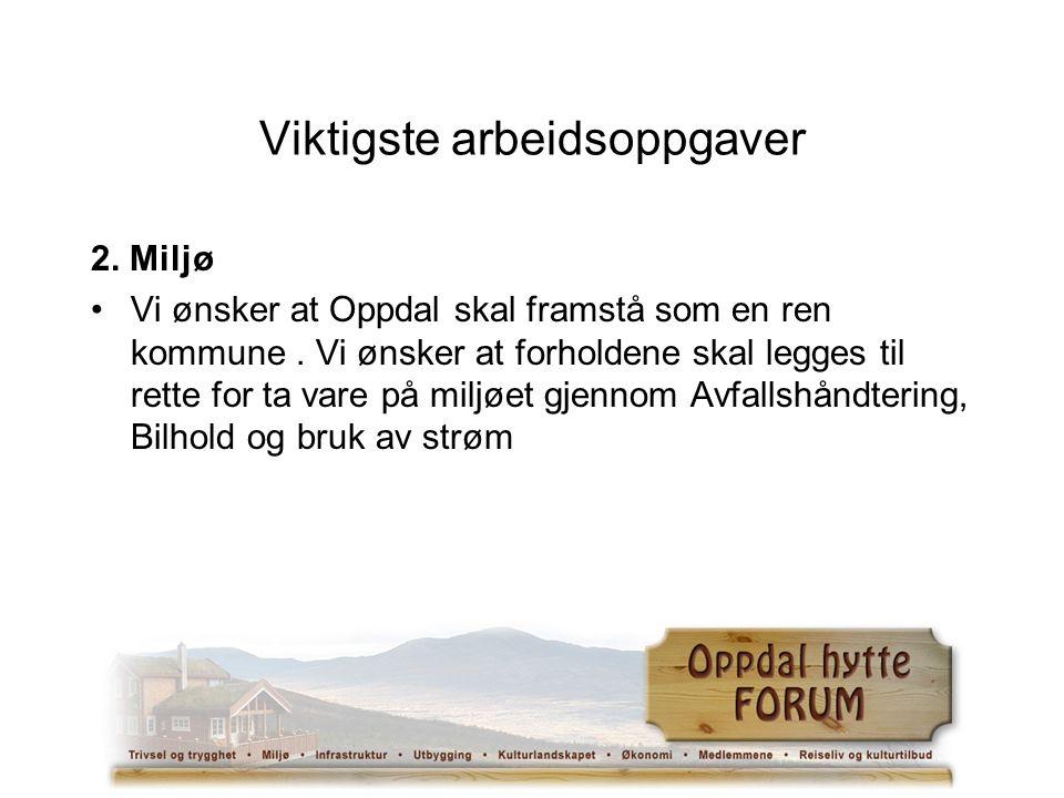 Viktigste arbeidsoppgaver 2. Miljø Vi ønsker at Oppdal skal framstå som en ren kommune.