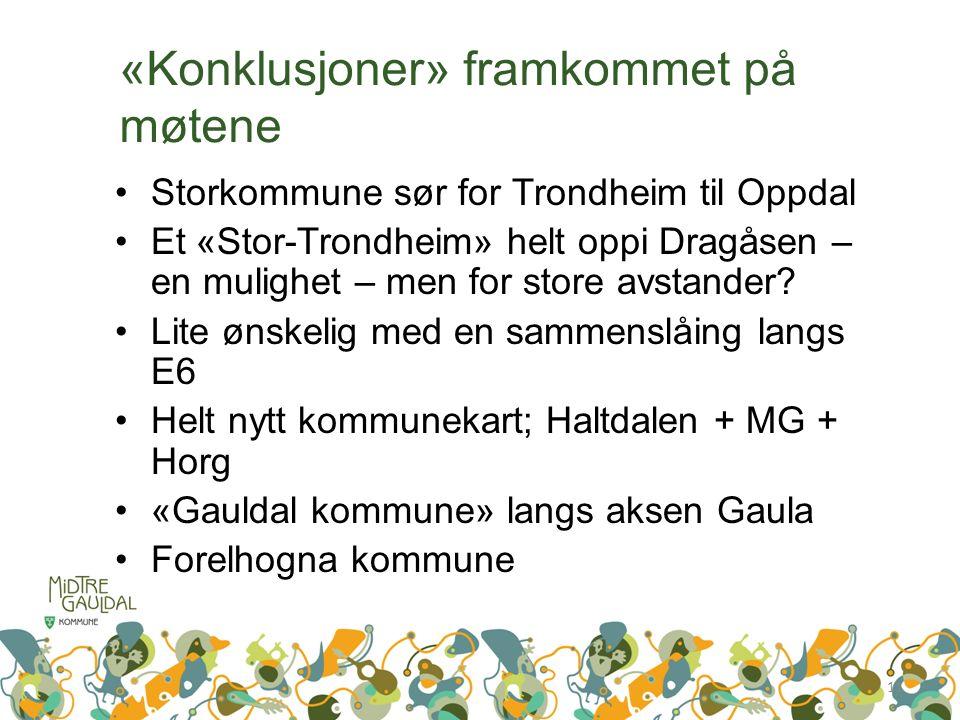 «Konklusjoner» framkommet på møtene Storkommune sør for Trondheim til Oppdal Et «Stor-Trondheim» helt oppi Dragåsen – en mulighet – men for store avstander.