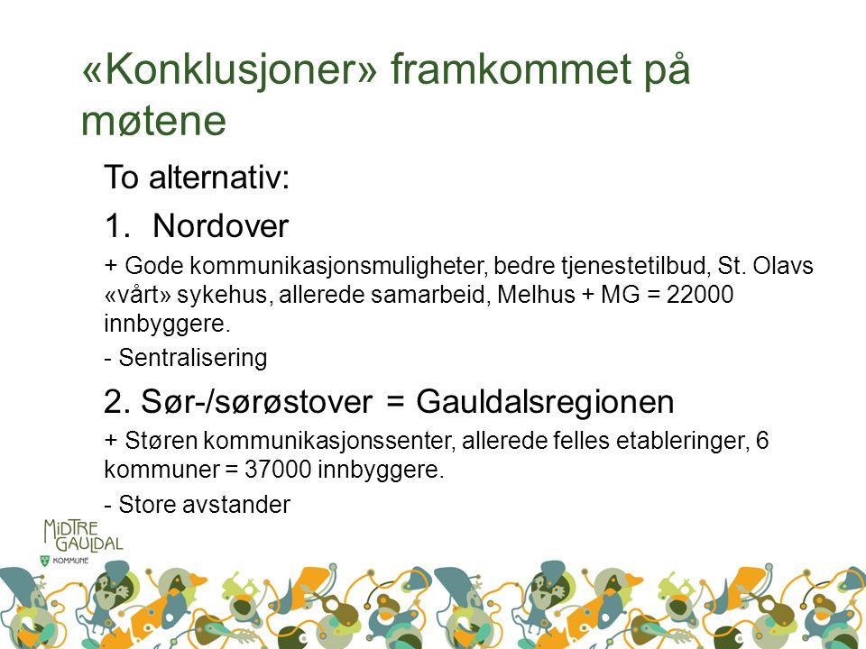 «Konklusjoner» framkommet på møtene To alternativ: 1.Nordover + Gode kommunikasjonsmuligheter, bedre tjenestetilbud, St.