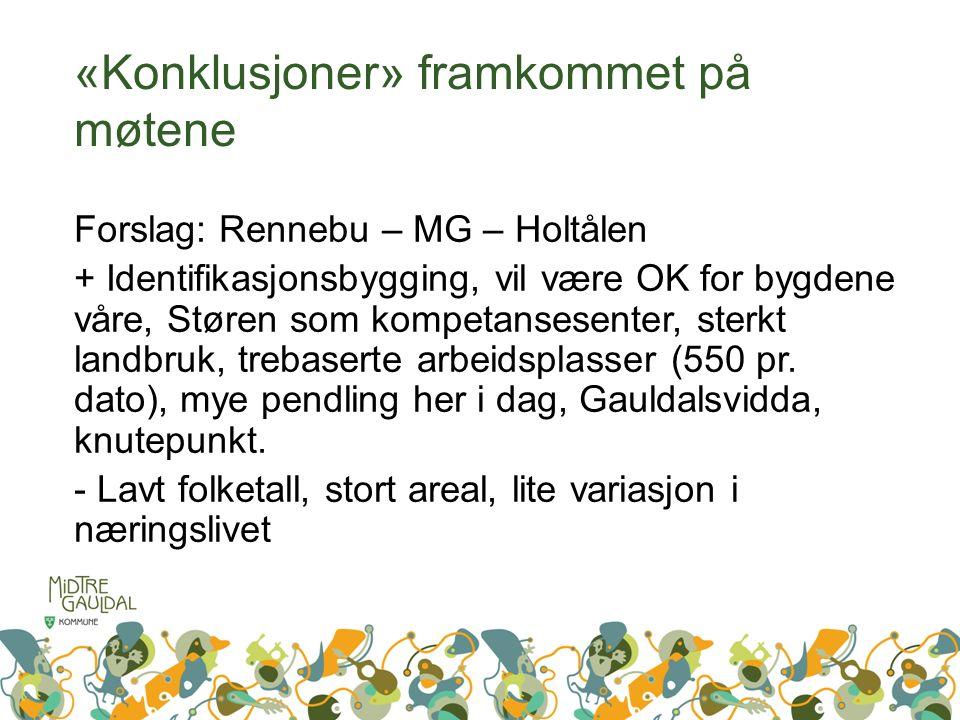 «Konklusjoner» framkommet på møtene Forslag: Rennebu – MG – Holtålen + Identifikasjonsbygging, vil være OK for bygdene våre, Støren som kompetansesenter, sterkt landbruk, trebaserte arbeidsplasser (550 pr.