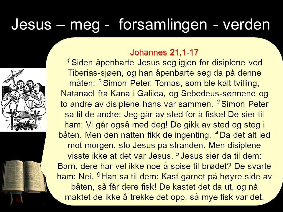 Johannes 21,1-17 1 Siden åpenbarte Jesus seg igjen for disiplene ved Tiberias-sjøen, og han åpenbarte seg da på denne måten: 2 Simon Peter, Tomas, som ble kalt tvilling, Natanael fra Kana i Galilea, og Sebedeus-sønnene og to andre av disiplene hans var sammen.