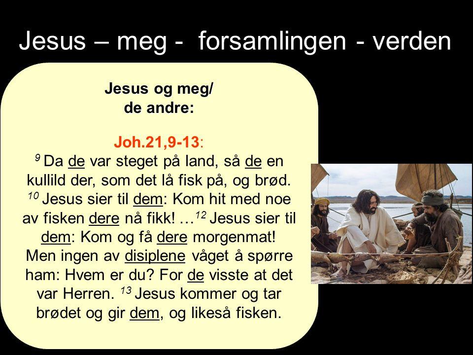 Jesus – meg - forsamlingen - verden Jesus og meg/ de andre: Joh.21,9-13: 9 Da de var steget på land, så de en kullild der, som det lå fisk på, og brød.