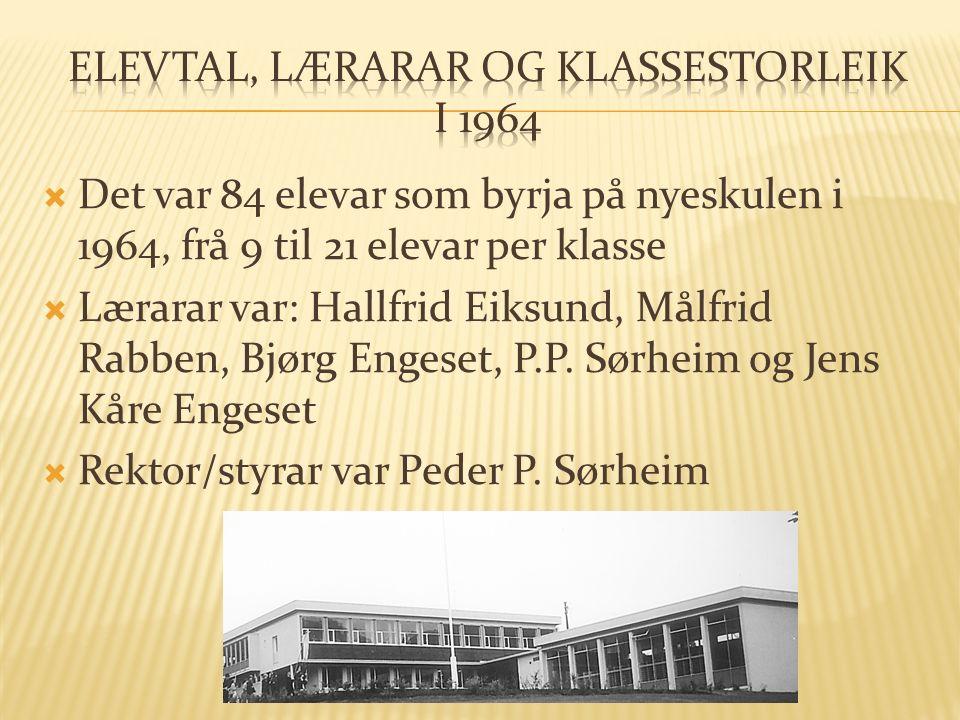  Det var 84 elevar som byrja på nyeskulen i 1964, frå 9 til 21 elevar per klasse  Lærarar var: Hallfrid Eiksund, Målfrid Rabben, Bjørg Engeset, P.P.
